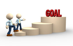 Goal. 3d people - man, person climbs the ladder of goal Stock Image