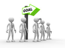Goal. 3d people - man, person with a direction sign and text goal. Vision Stock Image