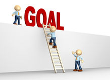 Goal. 3d people - man, person with a ladder and word GOAL Royalty Free Stock Photos