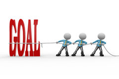 Goal. 3d people - man, person pulling a rope. Word goal Royalty Free Stock Photography