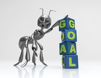 Goal 3d word concept. Black ant with cubes Royalty Free Stock Photography