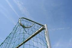 Goal detail. Upper corner of a soccer goal royalty free stock image