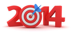 Goal for the 2014. Digits of new year 2014 with small dartboard on white background Stock Images