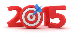 Goal for the 2015. Digits of new year 2015 with small dartboard on white background Stock Images