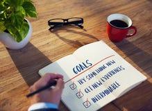 Goal Explore Aim Ambition Inspire Concept stock image