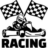 Goal flags and kart racing. Vector Stock Images