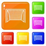 Goal Football Icons Set Vector Color Royalty Free Stock Images