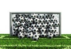 Goal full of balls on the football field. Goal full of soccer balls on the football field Royalty Free Stock Photo