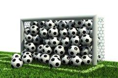 Goal full of balls on the football field. Goal full of soccer balls on the football field Stock Photos