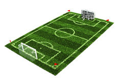 Goal full of balls on the football field. 3d illustration Royalty Free Stock Photography