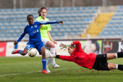 Goal and Goalkeeper at Woman football game stock photo