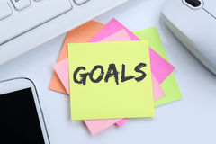 Goal goals to success aspirations and growth business concept de stock images