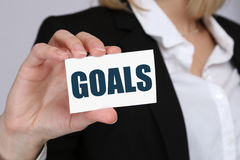 Goal goals to success aspirations and growth business concept. Goal goals to success aspirations and growth targets business concept royalty free stock image