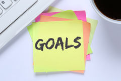 Goal goals to success aspirations and growth desk royalty free stock photography