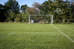Goal and grass. Green grass ready to play football Stock Photo