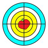 Goal. Icon. Red, yellow. Vector flat. Strategy, sign symbol. Goal. Icon. Red, yellow. Vector flat. Strategy sign symbol The Apple and heart Stock Photography