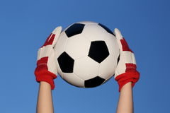 Goal keeper with ball royalty free stock image