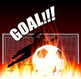 Goal keeper get the fire ball Royalty Free Stock Photos