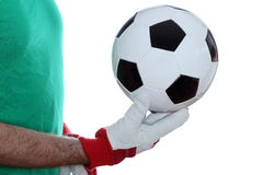 Goal keeper with gloves Royalty Free Stock Photos