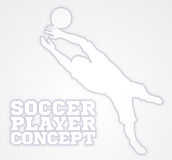 Goal Keeper Soccer Player Silhouette. An illustration of a silhouette soccer player goal keeper catching the football ball saving a goal Stock Photo