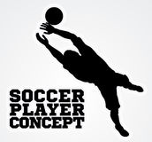 Goal Keeper Soccer Player Silhouette. An illustration of a silhouette soccer player goal keeper catching the football ball saving a goal Stock Images
