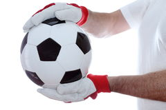Goal keeper takes a soccer ball. In hands Royalty Free Stock Photography