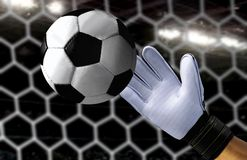 Goal keeper trying to catch a fast soccer ball. Goal keeper trying to catch a fast ball during soccer game stock images