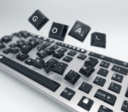 Goal keyboard. Goal in business or teamwork represent in abstract illustration Stock Photos
