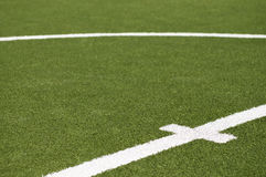 Goal kick line on soccer field Stock Photo