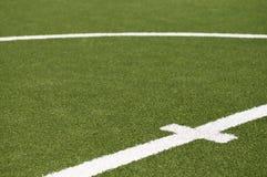 Goal kick line on soccer field. Goal kick line on soccer game field Stock Photo