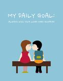 Daily goal: Always kiss your loved ones goodbye. Poster. Illustration. Children kissing on bench Royalty Free Stock Images