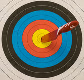 Goal !. A knife that has hit the target Stock Photos