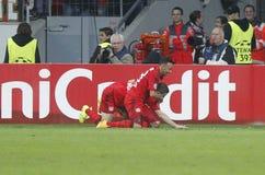 Goal Kyriákos Papadópoulos  Bayer 04 Leverkusen v Zénith Saint-Pétersbourg Champion League Royalty Free Stock Photography