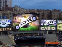 Goal !. Last goal from the friendly between Manchester City and Chelsea (5-3), May 25, 2013 at the new modern Yankee Stadium, New York City Royalty Free Stock Photo