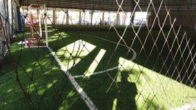 Goal of an indoor football soccer training field stock video