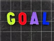 Goal magnetic letter on blackboard chalkboard stock photo