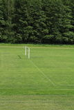 Goal without net. Training football field with natural grass and goal without net Stock Photography