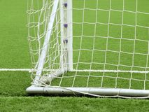 Goal Net. Detail of a goal net and white line in a soccer field Royalty Free Stock Photos