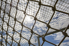 The goal net against blue sky during team practice in Thessaloni Royalty Free Stock Images