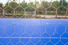Goal net with futsal field Stock Photo