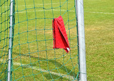 Goal and net of the soccer field. With a towel Stock Photo