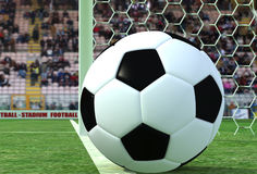 Goal or not goal. Soccer-ball on white line of a door soccer- rendering Royalty Free Stock Photo