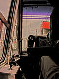 Goal oriented bus driver. Heading to the horizon Stock Photos