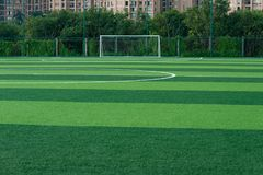 Goal of an outdoor soccer. Field Royalty Free Stock Photo
