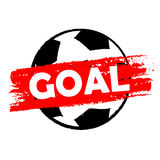 Goal over soccer ball, drawn banner Stock Photos