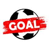 Goal over soccer ball, drawn banner. Goal over soccer ball - drawn banner, football sport concept Stock Photos