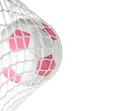 Goal--Pink Soccer Ball in Net Stock Photography