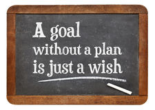A goal without plan is just a wish - blackboard sign Royalty Free Stock Photography