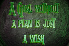 A Goal Without A Plan Is Just A Wish Concept Stock Image