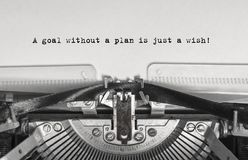 A goal without a plan is just a wish! stock photos